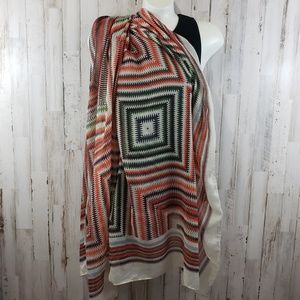 Vintage Oversized Womens Scarf Multi-Colored Sheer